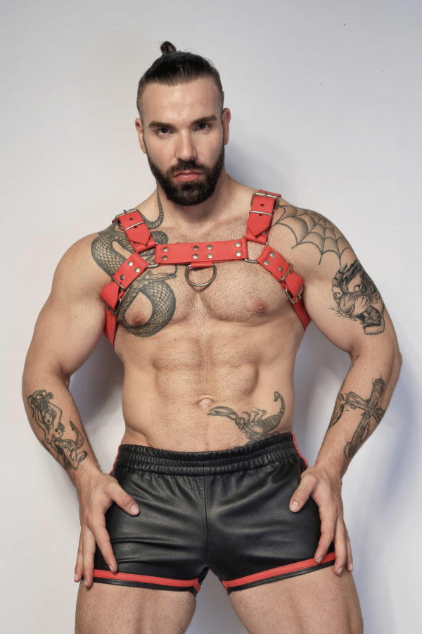 Kristen Bjorn Red Leather Harness Max Hilton