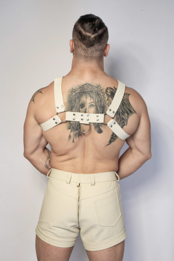 White Leather Harness Max Hilton
